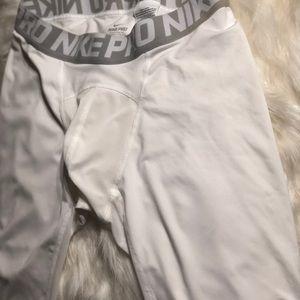 Nike white compression shorts